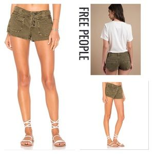 FREE PEOPLE Mid RISE CORA Shorts BUTTON FLY